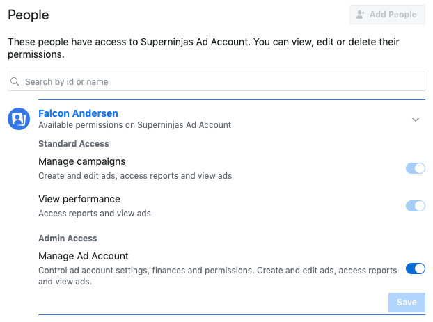 Ad Account Admin permissions