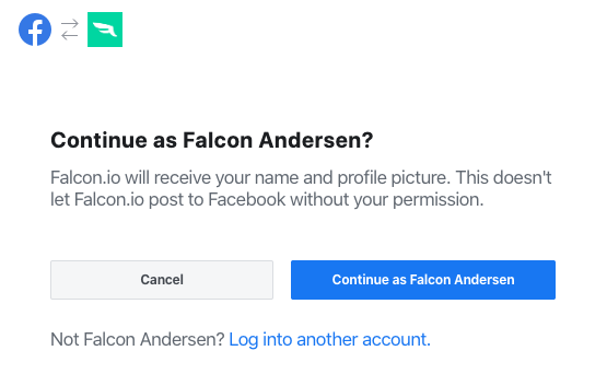 First Facebook connection step