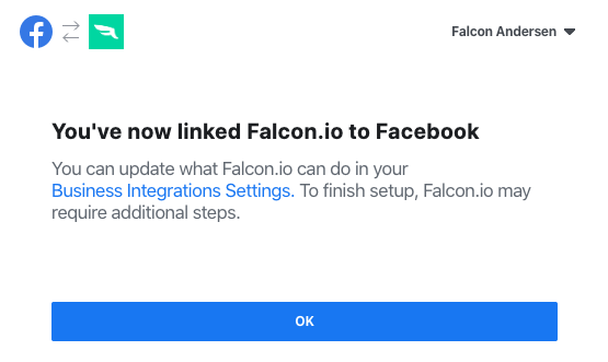 Fourth Facebook connection step