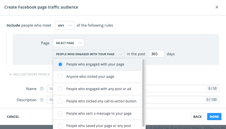 Create Facebook Page Traffic Audience